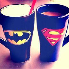 cute superman and batman cups Heart Sign, We Heart It, Most Popular Image, Superman, Batman, Pint Glass, Swag, Diy, Ideas