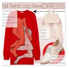 """""""Fall Trend: Long Sleeve Dresses"""" by martso ❤ liked on Polyvore featuring Mode, NARS Cosmetics, WallPops, Christopher Kane, Clarks, Mansur Gavriel, contestentry und longsleevedress"""