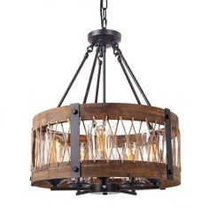 Anmytek Round Wooden Chandelier with Clear Glass Shade Rope and Metal Pendant Five Lights Decorative Lighting Fixture Retro Rustic Antique Ceiling Lamp Rustic Chandelier, Wood Chandelier, Wooden Chandelier, Hanging Ceiling Lamps, Rustic Lighting, Wood Chandelier Rustic, Drum Shade Chandelier, Wooden Light, Light Fixtures