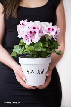 Flower Pot DIY for Easter and Spring. A gorgeous crafts idea! Customise a plant pot and decorate your home this season. Could also make for some great gifts or house warming gifts! A super simple tutorial