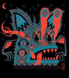 PSYCHO MONSTERS by Seb NIARK1 FERAUT, via Behance  I like it because I think it is interesting and the way the colors are used helps catch your eye.  The colors are very bright, and I think that's part of the reason it is so interesting.