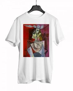 Pablo Picasso - Woman in an Armchair Pablo Picasso, Armchair, Boutique, Woman, Mens Tops, T Shirt, Fashion, Accessories, Sofa Chair