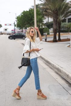 Great outfit you can throw on for brunch with friends or for a day around town running some errands. Love the light skinny jeans, wedges and white top combination!
