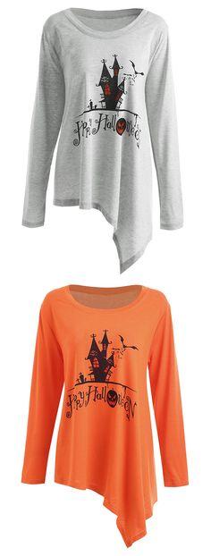 halloween tops for women:Plus Size Happy Halloween Long Asymmetric T-shirt