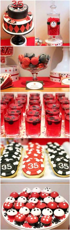 Party theme ○ poker party dessert table by delia estilo las vegas, casino dessert table Casino Party, Fète Casino, Casino Cakes, Casino Theme Parties, Casino Royale, Themed Parties, Parties Kids, Las Vegas Party, Adult Party Themes