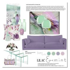 """Color Challenge: Lilac & Mint"" by viva-12 ❤ liked on Polyvore featuring interior, interiors, interior design, home, home decor, interior decorating, Michael Protiva, M&Co, Allstate Floral and Cultural Intrigue"