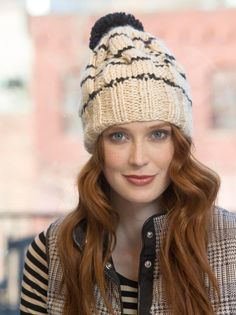 This cabled knit hat was made in our newest yarn, Heartland Thick & Quick!