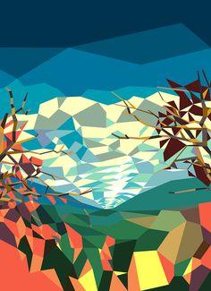 Super-geometric Landshape - Liam Brazier Illustration & Animation