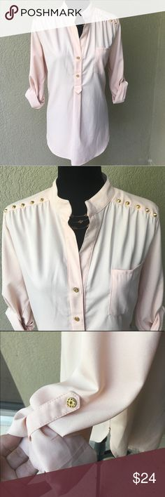 """🆕Lumiere light peach studded blouse Lumiere light peach blouse with trendy gold tone studs across the shoulders. Sleeves can be worn long or rolled and buttons to 3/4 or 1/2 sleeve length.Center box pleat with button detail on back. Material is not stretchy. There is one very faint small mark (see last pic)  on the back that will likely come out if pretreated prior to laundering. I don't use chemicals so haven't tried - other than this it is in EUC no snags or holes! Bust 20 length 27"""" ✅I…"""
