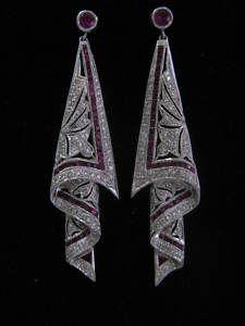 Levian 18Kt Gem Ruby Diamond Dangling Earrings 2.53CT