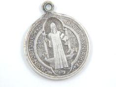 Large Vintage Saint Benedict Exorcism Medal - Benoit Catholic Medal - Religious Charm - Catholic Jewelry  V56 by LuxMeaChristus on Etsy