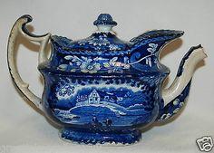 Antique-1820s-Staffordshire-Historical-Scene-Dark-Blue-Transferware-Tea-Pot