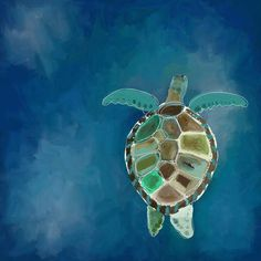 GreenBox Art 'Swimming Sea Turtle' by Cathy Walters Painting Print on Canvas Sea Turtle Decor, Sea Turtle Art, Sea Turtles, Sea Turtle Painting, Painting Prints, Art Prints, Canvas Paintings, Rock Painting, Mini Paintings