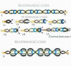 Free pattern for beaded bracelet Shalimar U need: seed beads 11 Beaded Bracelets Tutorial, Beaded Bracelet Patterns, Woven Bracelets, Beaded Earrings, Super Duo Beads, Twin Beads, Schmuck Design, Beads And Wire, Jewelry Making
