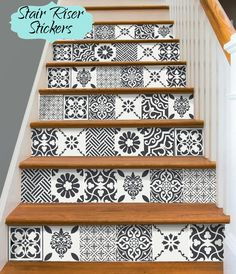 Pets Home : Stair Riser Vinyl Strips Removable Sticker Peel & Stick for 15 steps patchwork Black Kitchens, Cool Kitchens, Kitchen Black, Tile Decals, Vinyl Tiles, Kitchen Backsplash, Backsplash Ideas, Kitchen Flooring, Kitchen And Bath