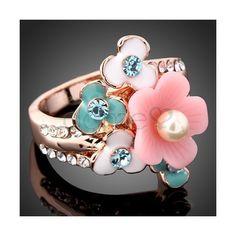 Legierung Strass Blumen Ring eleganter[DE16EEQSC] - Dameo.de ($15) via Polyvore