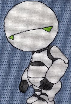 Marvin paranoid android digital cross-stitch pattern Hitchhiker's guide to the galaxy Douglas Adams HHGTTG HGTTG 42 instant download