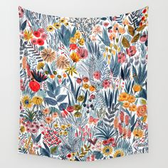 Buy Flowers Wall Tapestry by Mouni Feddag. Worldwide shipping available at Society6.com. Just one of millions of high quality products available.