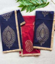 Gold Print Napkins - Indigo (Set of 4) - Matr Boomie