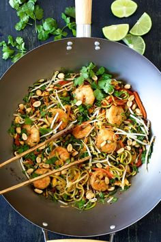 Shrimp pad thai, a classic Thai street food, gets a healthful update here with zucchini noodles!