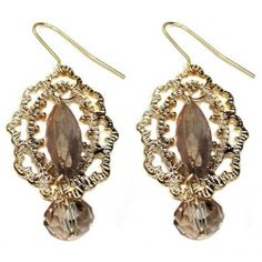 Antique Style Champagne Glass Bead Earrings