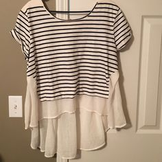 Free People Top Free People navy combo top. New with tags Free People Tops Blouses