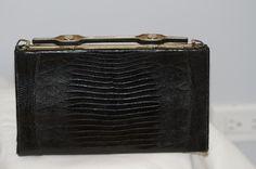 Vintage Crocodile Leather Black Clutch