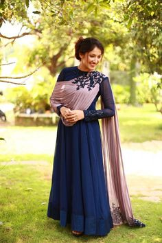 Label'M Presents Midnight Blue Anarkali Gown Applique . Colors may be minor vary from what was mentioned because of different screen resolution. Anarkali Gown, Lehnga Dress, Banarasi Lehenga, Sharara, Saree, Stylish Dresses, Nice Dresses, Fashion Dresses, Vintage Dresses