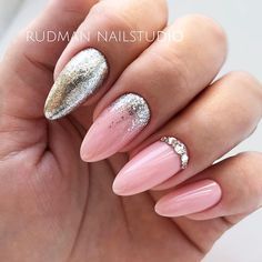 Baby Pink Shellac Nails With Glitter Accent And Rhinestones #pinknails #glitterails #rhinestonesnails #almondnails ★ Have you tried shellac nails already? Discover plenty of pretty designs for shellac manicure here. ★ See more: https://glaminati.com/shellac-nails/ #glaminati #lifestyle #nails #nailart #naildesigns #shellacnails