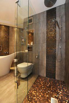 Eclectic Bathroom Shower Floor Design, Pictures, Remodel, Decor and Ideas Dream Bathrooms, Beautiful Bathrooms, Small Bathrooms, Glamorous Bathroom, Luxury Bathrooms, Timeless Bathroom, Modern Bathrooms, Coolest Bathrooms, White Bathrooms