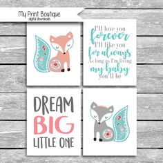 FOUR Instant 8x10 Inch Baby Fiona Digital Files - Coordinates With Levtex Crib Bedding - I'll Love You Forever  Fox Boho Printable JPG by MyPrintBoutique on Etsy