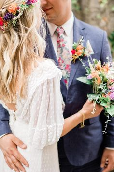 Bohemian Wedding in Italy  #flowercrow #vintageweddingdress #lace #edwardianweddingdress #bluelinensuit #libertyprint #libertyprinttie #brightflorals #bohemiumwedding #boquet #lavender #blonde #backless #rustic #brightflowers #bohochic #boho #slevees
