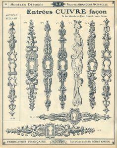 Antique door hardware, keyhole catalogue qucaillmeubles p36
