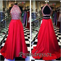 Red sequins long high neck senior graduaiton dress