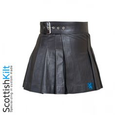 Our Wrap Around Leather Mini Kilt is a new twist on the classic kilt design and is perfect for anyone who wants to show their Celtic pride and stand out in a crowd at the same time. Made out of premium leather, this mini kilt comes with a standard 24-inch drop; however, we can customize it for lengths of 16 to 35 inches upon request #Leather kilt #Mini Kilt #KiltsForSale