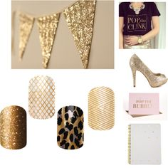 """""""Pop the Bubbly"""" by alicia-carpio on Polyvore. Gold Sparkle, Gold Fishnet, Gold Leopard, Gold Crisscross.  Order your golden jams today!  Www.aliciacarpio.jamberrynails.net #goldnailart #Jamberry #newyears #2015newyearnails"""