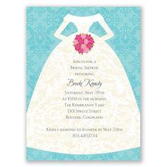 Bridal Dress Bridal Shower Invitation by David's Bridal #bridalshower #invitation #davidsbridal