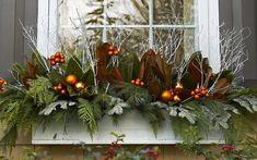 Diy Christmas Urns, Christmas Window Boxes, Outdoor Christmas Planters, Fall Window Boxes, Window Box Flowers, Window Planter Boxes, Christmas Greenery, Christmas Lights, Faux Flowers
