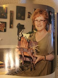 Mixed media artist, Myrna Axt, featured in Central Valley Magazine, 10/16 edition. Holding. Hammer Head Trotter.