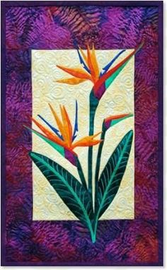 Bird of Paradise floral appliqué quilt patterns by Debra Gabel of www.ZebraPatterns. #quilts #applique