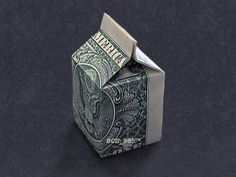 MILK CARTON Money Origami - Dollar Bill Art