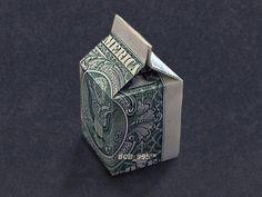 MILK CARTON Money Origami - Dollar Bill Art