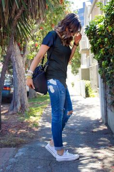 For laid-back days, converse & boyfriend jeans are just as cool as heels when you add some great accessories.