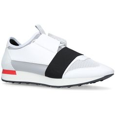 Balenciaga Race Elastic Sneakers ($635) ❤ liked on Polyvore featuring shoes, sneakers, sport sneakers, sports trainer, balenciaga shoes, sports footwear and balenciaga sneakers