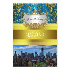 NY City Skyline BW W1 Damask RSVP Personalized Invite