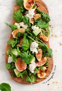 Fig and Arugula Salad w/ Pistachio Pesto / @loveandlemons  Sub avocado or coconut oil if you aren't into EVOO.