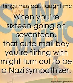 Things Musicals Taught Me:  THE SOUND OF MUSIC    When you're sixteen going on seventeen, that cute mail boy you're flirting with might turn out to be a Nazi sympathizer. Hate that when it happens