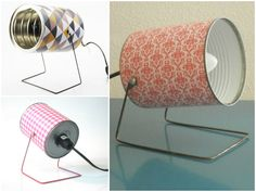 Can't believe I didn't think of this! Find out how to make these simple recycled lamps! Perfect for my craft table!