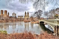 New York City Feelings - Winter reflections at Bow Bridge, Central Park by...
