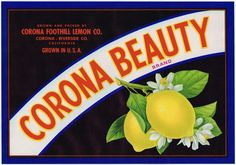 LEMON CRATE LABEL CORONA BEAUTY RIVERSIDE COUNTY VINTAGE ORIGINAL 1940S CITRUS in Collectibles, Advertising, Merchandise & Memorabilia | eBay